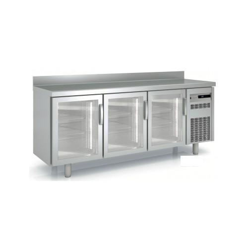 Mesa refrigerada 3 puertas cristal
